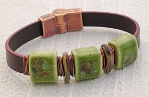 Mossy Italian Flat Leather Bracelet