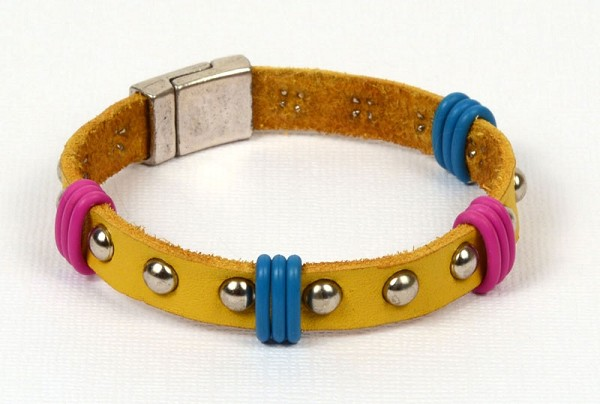 Head in the Clouds Studded Flat Leather Bracelet