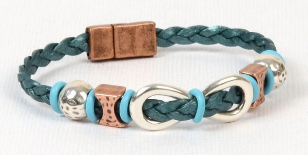Infinite Shine Braided Flat Leather Bracelet