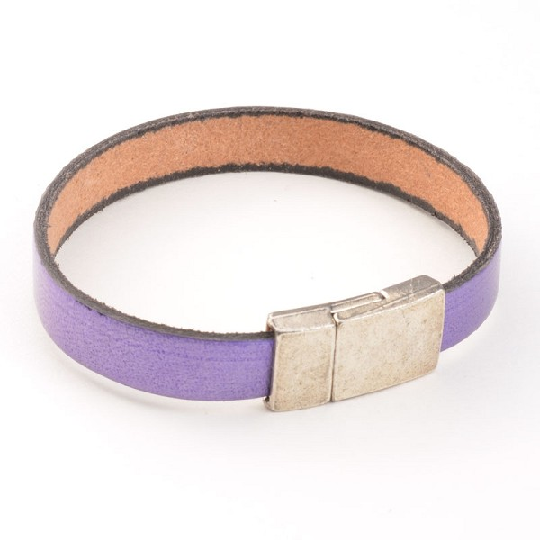 Purple Simplicity Flat Leather Bracelet