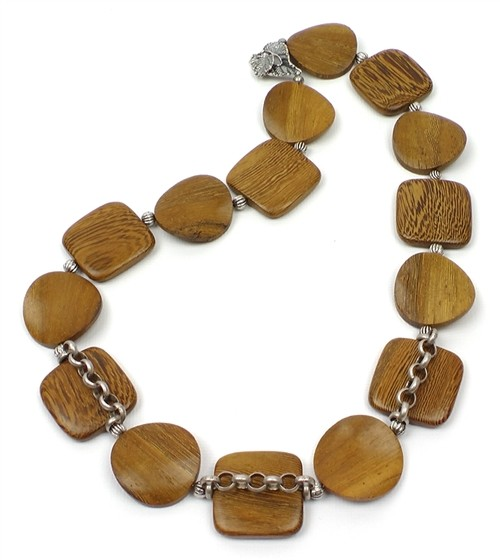 Wood Grain and Leaf Veins Necklace