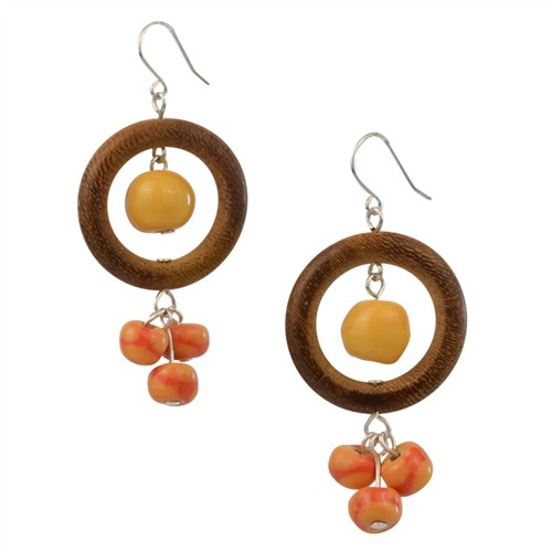 Golden Buttercups Kazuri & Bulahan Wood Beads Earrings