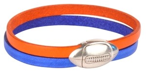 Denver Broncos Football Clasp Leather Bracelet