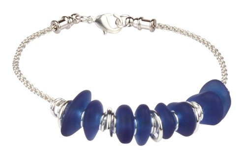 Blue Bubbles Artistic Round Braided Wire Bracelet