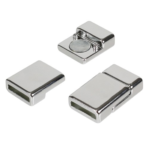 10mm Flat Cord Acrylic Magnetic Clasp - Chrome