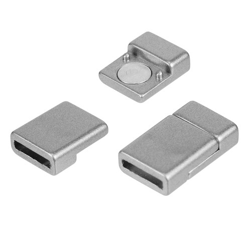 10mm Flat Cord Acrylic Magnetic Clasp - Pewter