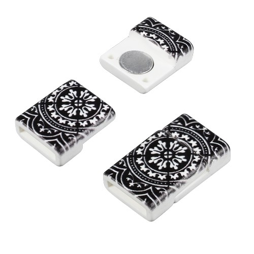 10mm Patterned Flat Cord Acrylic Magnetic Clasp - Black and White Floral Tile