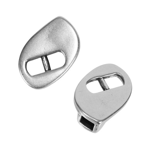 3mm Teardrop Slide Connector Flat Leather Cord Clasp - Antique Silver