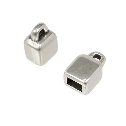 3mm Square Loop End Connector Flat Leather Cord Clasp - Antique Silver (2)