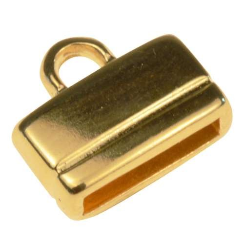10mm Rectangle End Cap Loop Flat Leather Cord Clasp (2) - Gold Plated