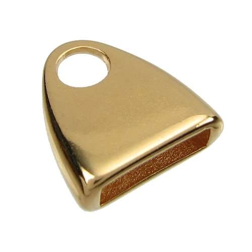 10mm Triangle End Cap Loop Flat Leather Cord Clasp (2) - Gold Plated
