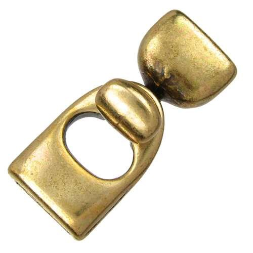 10mm Key Hole Flat Leather Cord Clasp (2) - Antique Brass