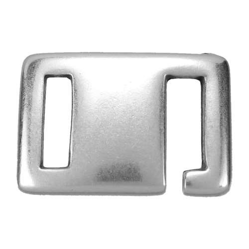 10mm Square Hook Flat Leather Cord Clasp - Antique Silver