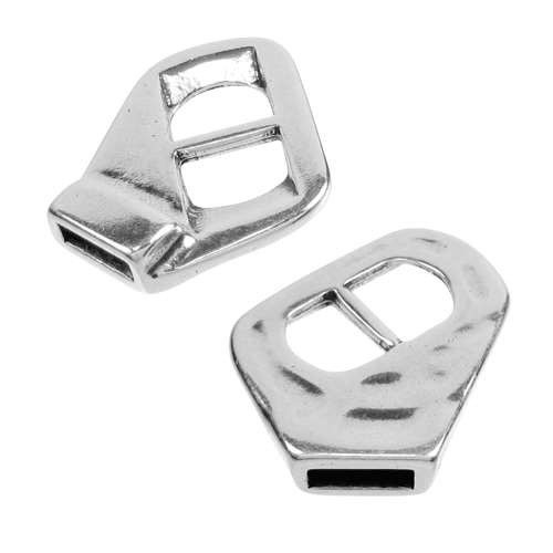 10mm V-Slide Connector Flat Leather Cord Clasp - Antique Silver
