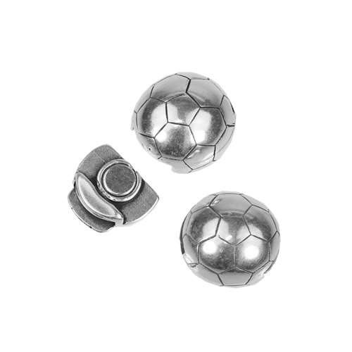 10mm Flat Soccer Ball Magnetic Clasp - Antique Silver