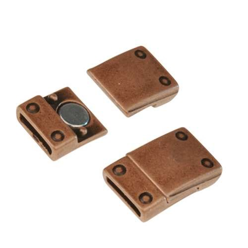 10mm Rivet Flat Leather Cord Magnetic Clasp - Antique Copper