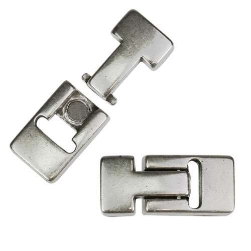 10mm flat T LATCH magnetic clasp ANTIQUE SILVER