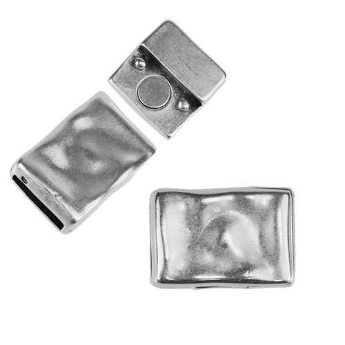 10mm flat HAMMERED RECTANGLE magnetic clasp ANTIQUE SILVER