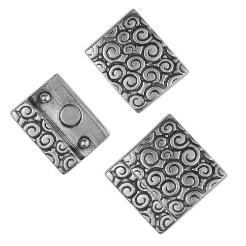 20mm Swirl Pattern Flat Leather Cord Magnetic Clasp - Antique Silver