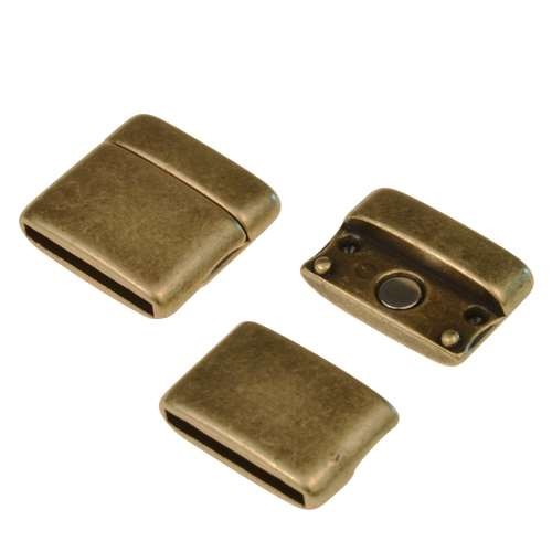 20mm Rounded Flat Leather Cord Magnetic Clasp - Antique Brass