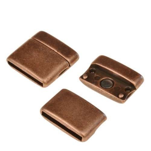 20mm Rounded Flat Leather Cord Magnetic Clasp - Antique Copper