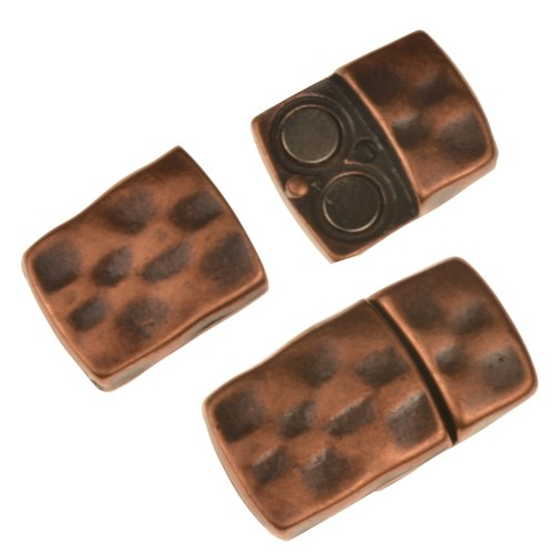 10mm Hammered Flat Leather Cord Magnetic Clasp - Antique Copper