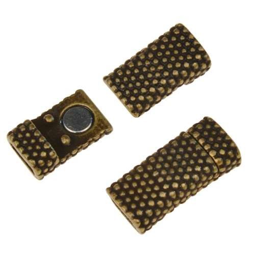 5mm Dot Flat Leather Cord Magnetic Clasp - Antique Brass
