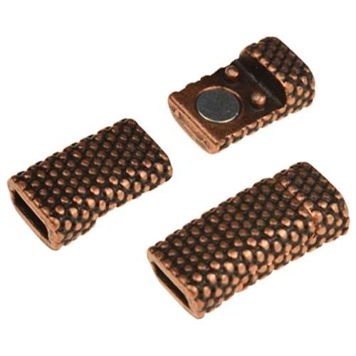 5mm Dot Flat Leather Cord Magnetic Clasp - Antique Copper