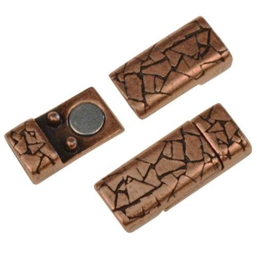 5mm Abstract Flat Leather Cord Magnetic Clasp - Antique Copper