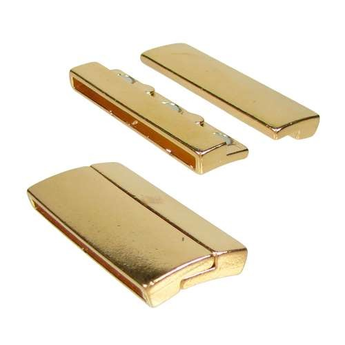 40mm Rectangle Flat Leather Cord Magnetic Clasp - Gold Plated