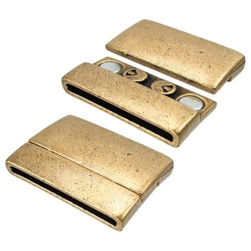 30mm Rectangle Flat Leather Cord Magnetic Clasp - Antique Brass