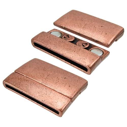 30mm Rectangle Flat Leather Cord Magnetic Clasp - Antique Copper