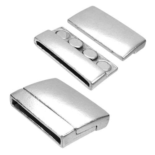 30mm Rectangle Flat Leather Cord Magnetic Clasp - Antique Silver