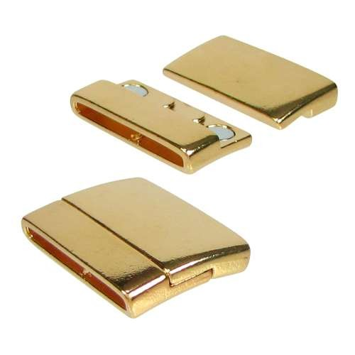 30mm Rectangle Flat Leather Cord Magnetic Clasp - Gold Plated