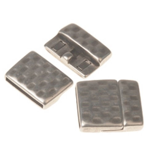20mm Hammered Flat Leather Cord Magnetic Clasp - Antique Silver