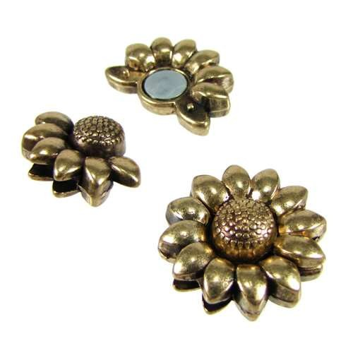 10mm Sunflower Flat Leather Cord Magnetic Clasp - Antique Brass