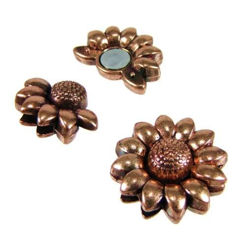 10mm Sunflower Flat Leather Cord Magnetic Clasp - Antique Copper