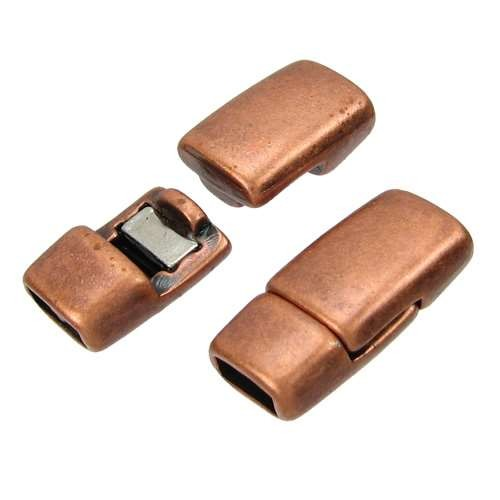 5mm Rounded Flat Leather Cord Magnetic Clasp - Antique Copper