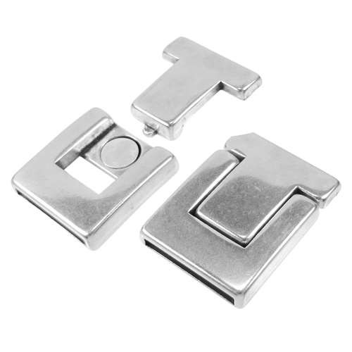 20mm Buckle Flat Leather Cord Magnetic Clasp - Anique Silver