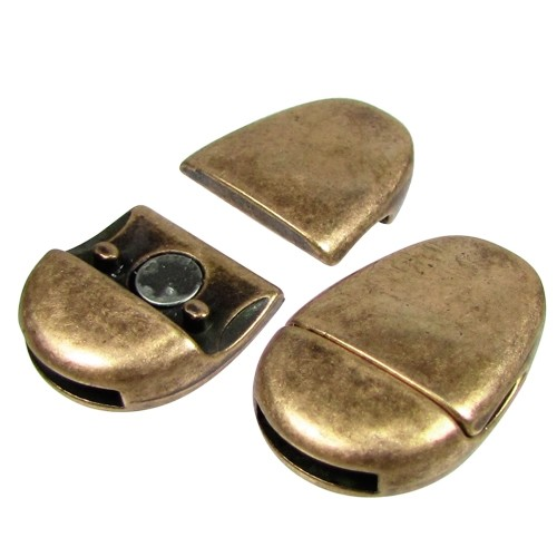 10mm Oval Flat Leather Cord Magnetic Clasp - Antique Brass