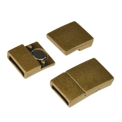 10mm Rectangle Flat Leather Cord Magnetic Clasp - Antique Brass