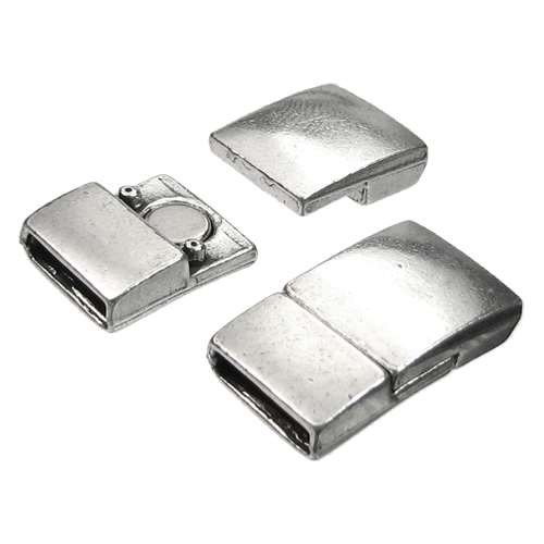 10mm Rectangle Flat Leather Cord Magnetic Clasp - Antique Silver