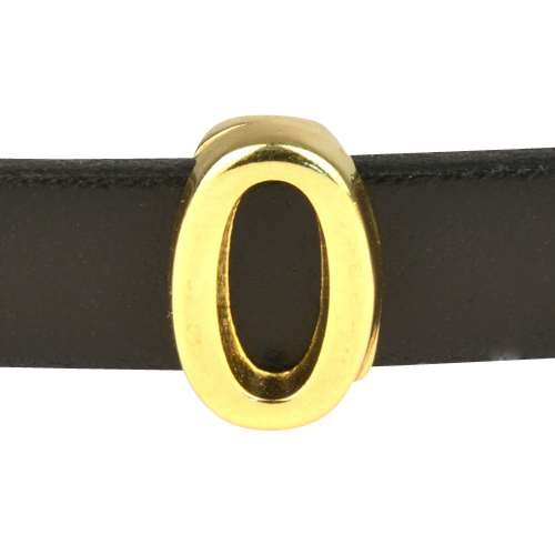 10mm Zero 0 Number Flat Leather Cord Slider - Gold Plated