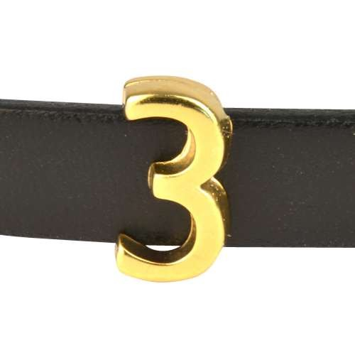 10mm Three 3 Number Flat Leather Cord Slider - Gold Plated