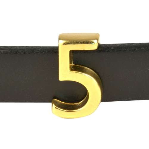 10mm Five 5 Number Flat Leather Cord Slider - Gold Plated
