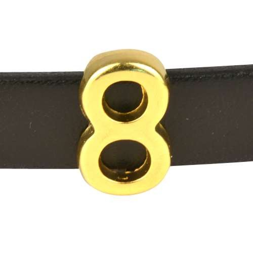10mm Eight 8 Number Flat Leather Cord Slider - Gold Plated