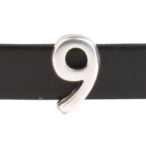 10mm Nine 9 Number Flat Leather Cord Slider - Antique Silver