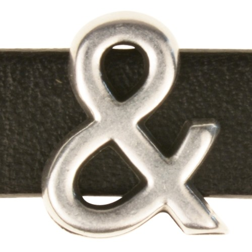 10mm & (Ampersand) Symbol Flat Leather Cord Slider - Antique Silver
