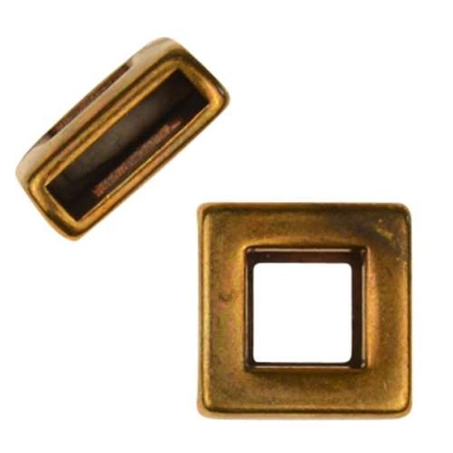 10mm Square Frame Flat Leather Cord Slider - Antique Brass