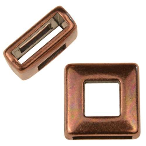 10mm Square Frame Flat Leather Cord Slider - Antique Copper